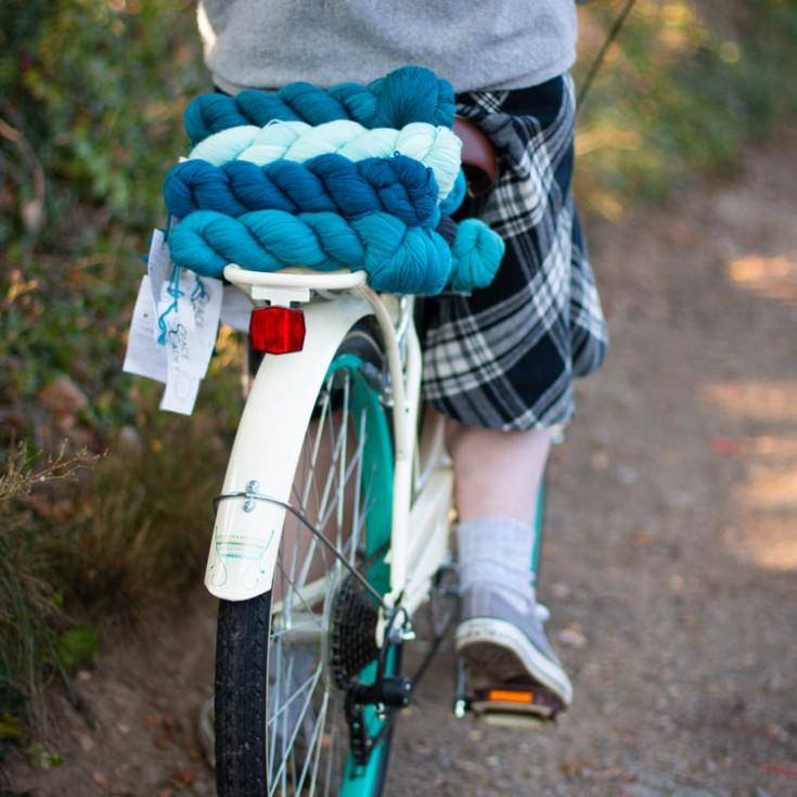Bike laden with blue yarn
