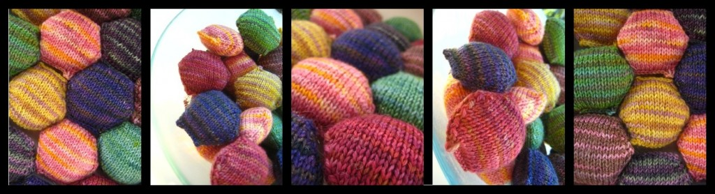 Hexipuffs knitted with SpaceCadet Mini-Skein yarn for the BeeKeeper's Quilt