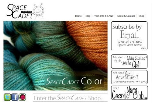Image of the new SpaceCadet Creations Yarn Website