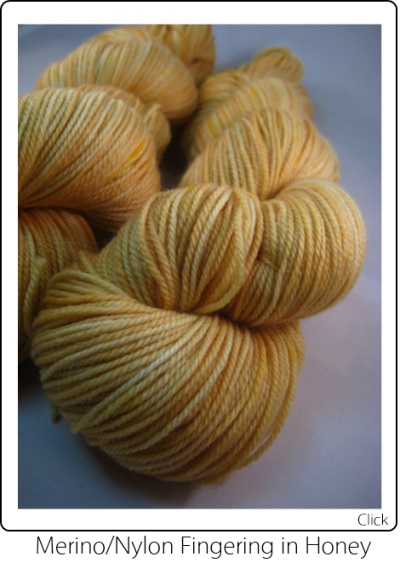 SpaceCadet Creations Merino and Nylon Fingering weight knitting or crocheting yarn in Honey