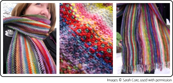 The Mini Mania Scarf by Sarah Core of Exchanging Fire, knit with mini skeins of yarn