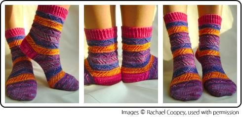 The Mixalot Socks by Rachael Coopey, knit with mini skeins of knitting yarn