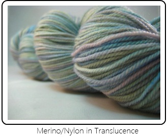 SpaceCadet Creations fingering yarn in Merino/Nylon in Translucence, for knitters and crocheters