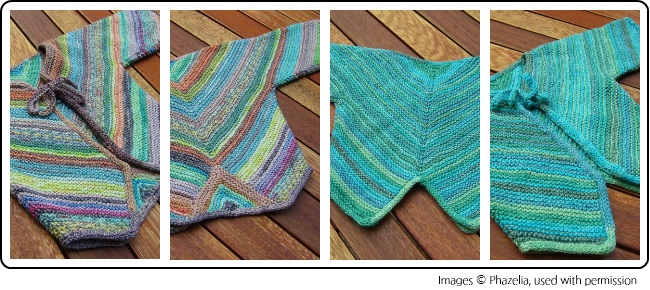 The Mitered Baby Jacket by Phazelia, knit with mini skeins of knitting yarn