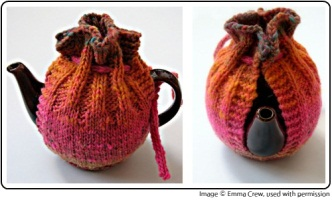 Kureyon Kozy by Emma Crew knitting pattern for a tea cosy, perfect for yarn from SpaceCadet Creations