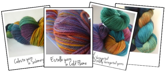 Variegated knitting and crochet yarns from SpaceCadet Creations, featured in the new ebook, Launching Into Hand-Dyed: a basic guide to knitting and crocheting with hand-dyed yarns