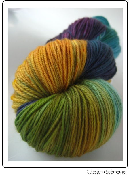SpaceCadet Creations Celeste fingering weight yarn for knitting and crochet, in Submerge