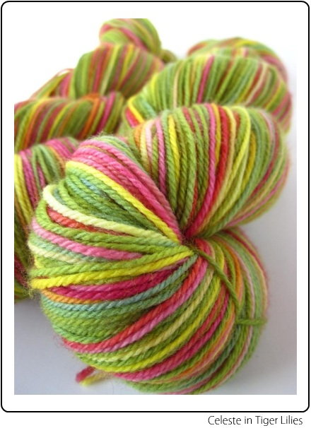 SpaceCadet Creations Celeste fingering weight yarn for knitting and crochet, in Tiger Lilies