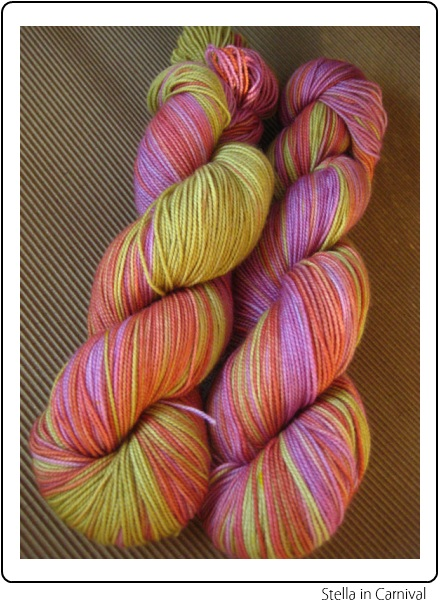 SpaceCadet Creations Stella fingering weight yarn for knitting and crochet, in Carnival