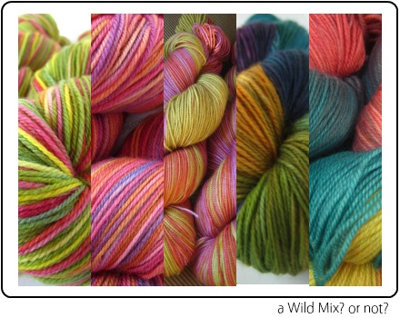 A Wild Mix of SpaceCadet fingering weight yarns for knitting and crochet