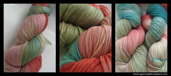 SpaceCadet Creations yarn for knitters and crocheters, dyed in the colours of Camille Roskelley's quilt on a green bed