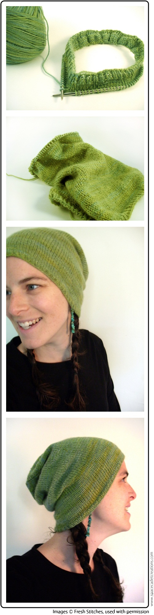 Stacey Trock of Fresh Stitches shows off her fabulous Rocka Beanie knitted in SpaceCadet Creations Estelle yarn in City Park
