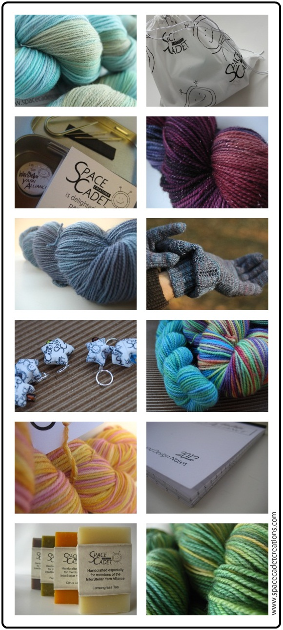 Twelve Months of InterStellar Yarn Alliance goodness -- the SpaceCadet's yarn club for knitters and crocheters