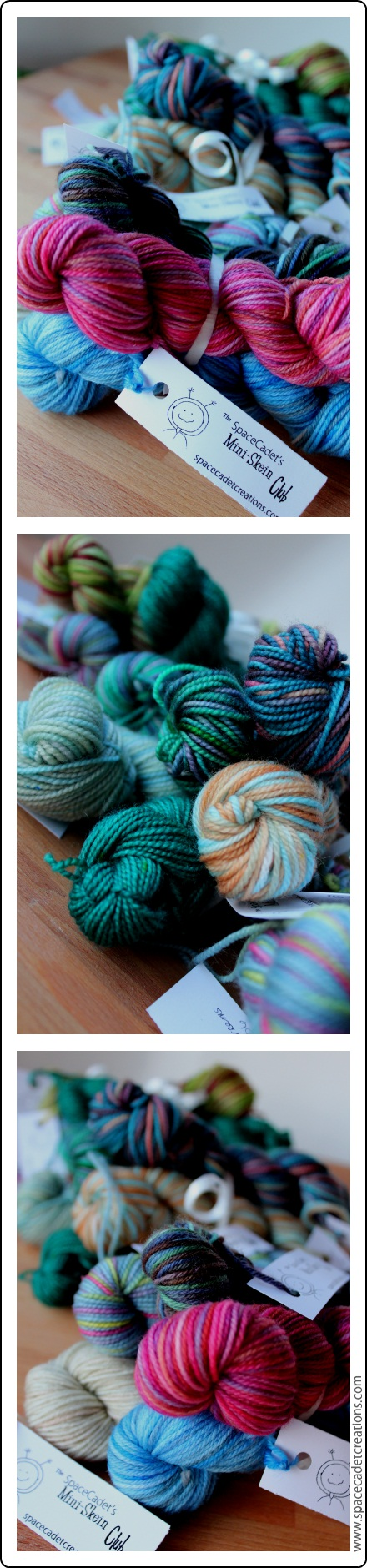 Seriously adorable bundles of yarn from the SpaceCadet's Mini-Skein Club