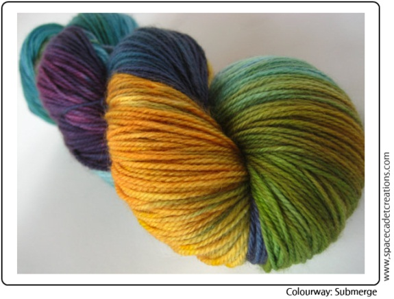 """SpaceCadet Creations hand-dyed yarn for knitting and crochet in """"Submerge"""""""