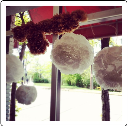 Huge flowers made from coffee filters!