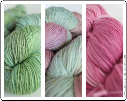 A Trio of Yarns from SpaceCadet Creations for the Color Affection shawl