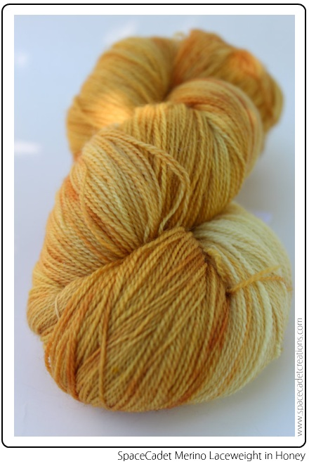 SpaceCadet Creations Laceweight yarn for knitting or crochet, in Honey (this is what the Yarn Harlot is knitting!)