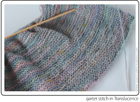 SpaceCadet Creations Lucina yarn in Translucence, knit in garter stitch