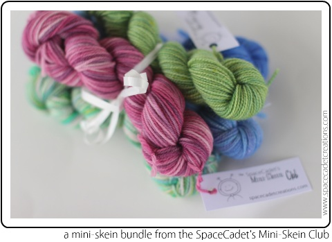 A sweet little bundle of mini-skeins from the SpaceCadet's Mini-Skein Club