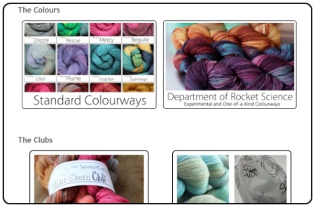 Browse the SpaceCadet's new shop by Yarn Type, Standard Colours, Experimental Colours, or check out the Clubs!
