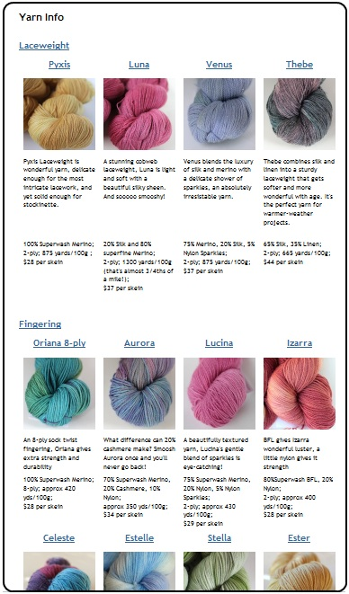 The SpaceCadet's Yarn Info Page, with full details fo all eighteen yarns!