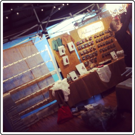 Setting up the Melissa Jean Designs booth at Rhinebeck