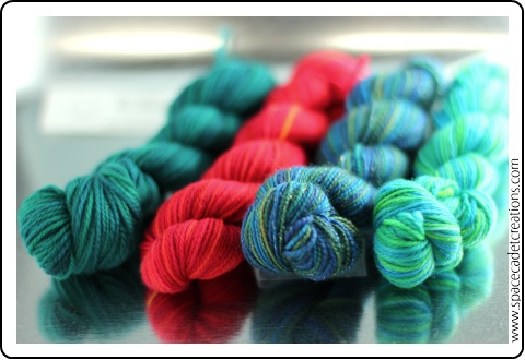 Experimentations in intense colour for the SpaceCadet's Mini-Skein Club
