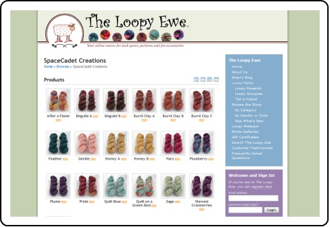 Click here to see SpaceCadet yarn at The Loopy Ewe!