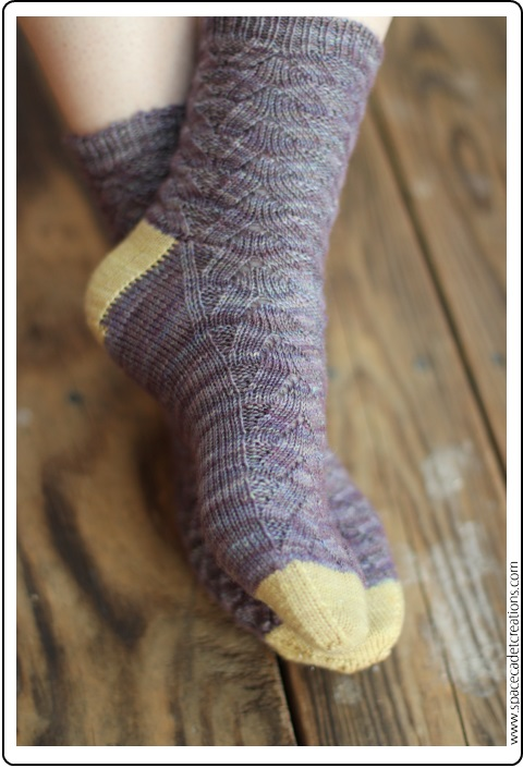 Socks made from the SpaceCadet's Sparkly Heels & Toes Kits