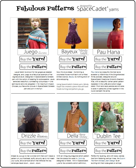 Fabulous Patterns designed in SpaceCadet yarn