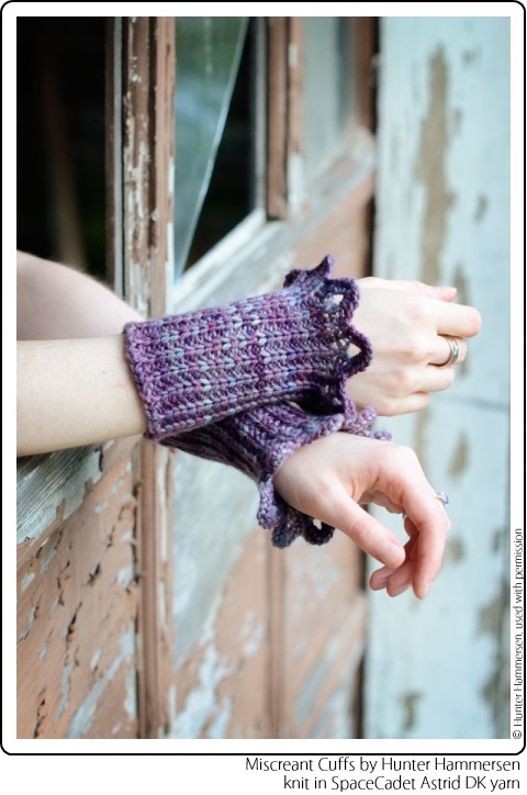 Miscreant Cuffs by Hunter Hammersen, knit in SpaceCadet Astrid DK yarn