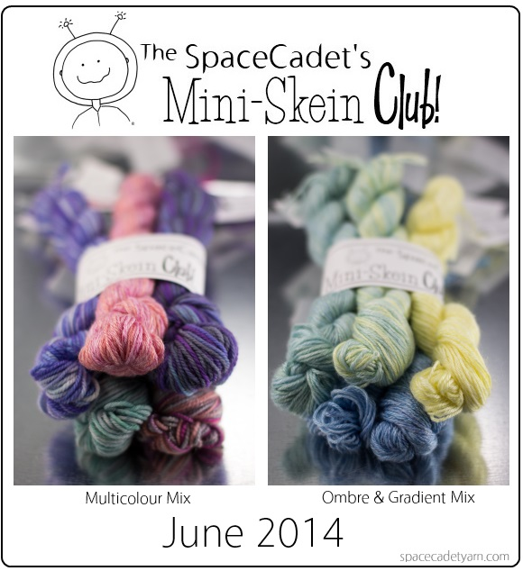 The SpaceCadet's Mini-Skein Club colourways, June 2014