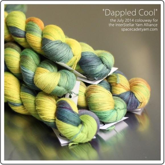 Dappled Cool, the July 2014 colourway for the InterStellar Yarn Alliance from SpaceCadet 1-580