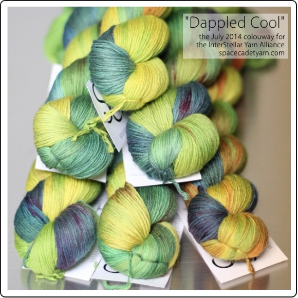 Dappled Cool, the July 2014 colourway for the InterStellar Yarn Alliance from SpaceCadet 3-580