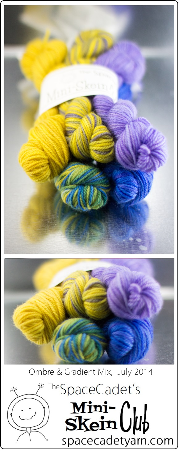 The SpaceCadet's Mini-Skein Club, Ombre & Gradient Mix, July 2014