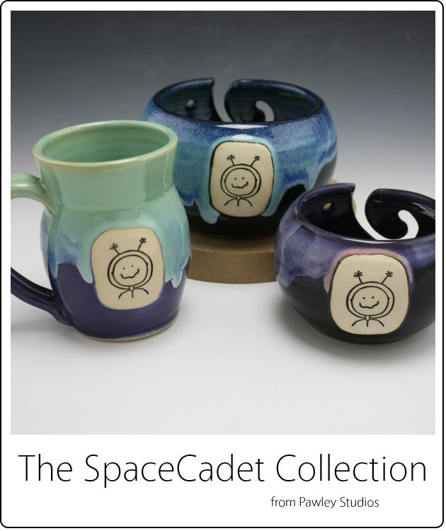 The SpaceCadet Collection from Pawley Studios: mug and yarn bowls in two sizes. Available Aug 1-18
