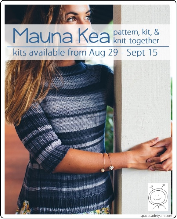 Mauna Kea by Mel of the With Mel podcast, knit in SpaceCadet Lyra yarn