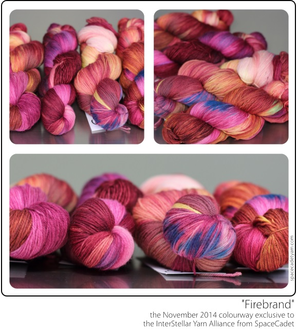 Firebrand, the November 2014 colourway exclusive to the InterStellar Yarn Alliance (yarn club) from SpaceCadet