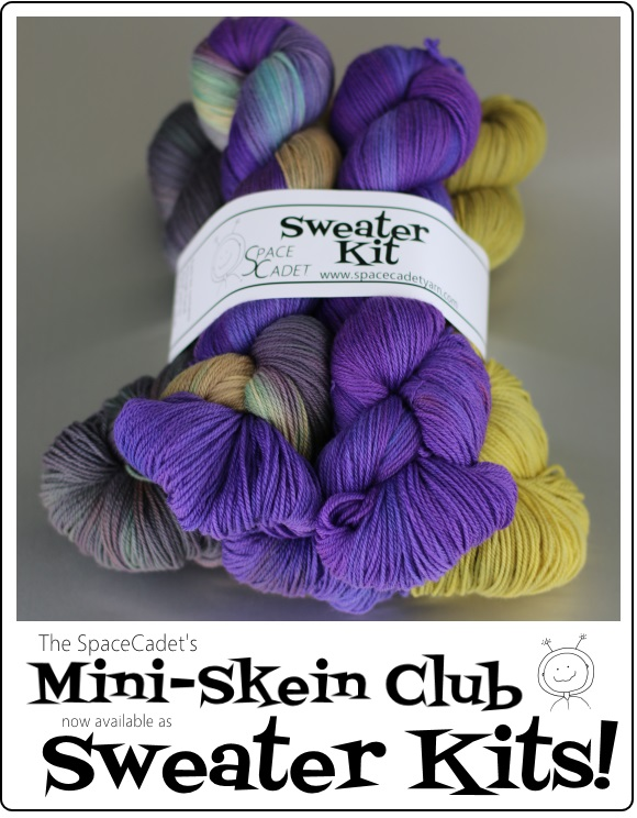 The SpaceCadet's Mini-Skein Club, now available as Sweater Kits!