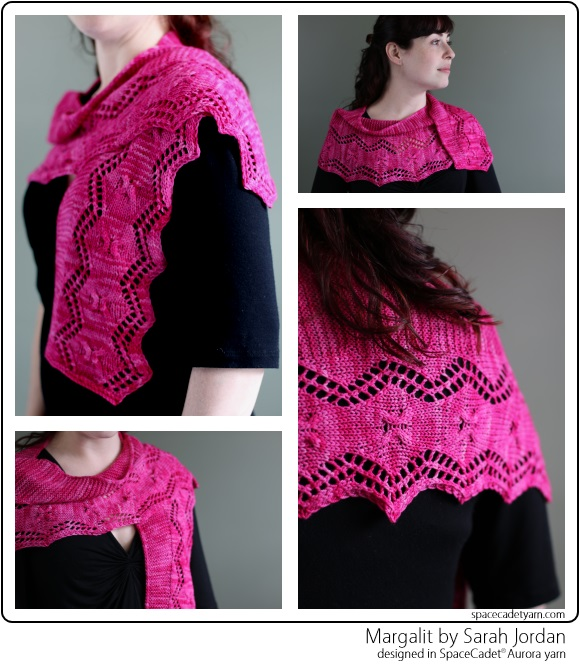 Margalit by Sarah Jordan, designed in SpaceCadet Aurora yarn