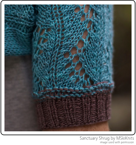 The Sanctuary Shrug by MSkiKnits uses SpaceCadet Mini-Skeins to create a pop of colour