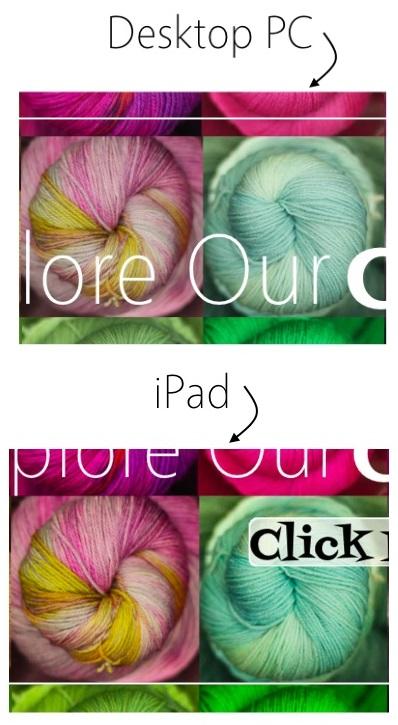 Side by side comparison, desktop to iPad