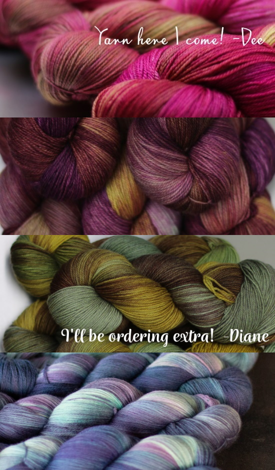 Pictures of four pretty, pretty Yarn Alliance colourways