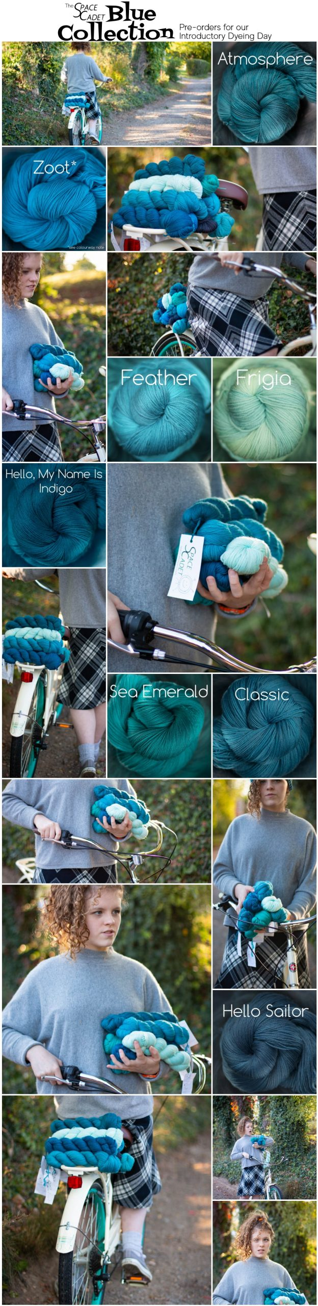 lots of photos of a girl on a bike with blue yarn on the back